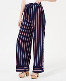 Ultra Flirt Juniors' Striped Wide-Leg Pants