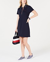 eea503c2 Tommy Hilfiger Polka-Dot Collar Polo-Shirt Dress, Created for Macy's