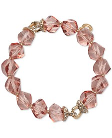 Anne Klein Gold-Tone Pavé & Faceted Bead Stretch Bracelet, Created for Macy's