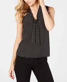 Anne Klein Printed Tie-Neck Top