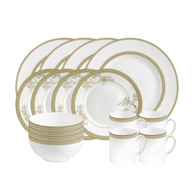 Dinnerware, Vera Lace Gold 16-PC Set