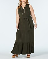 cd5f76352ac3c MICHAEL Michael Kors Plus Size Sleeveless Tiered-Skirt Maxi Dress