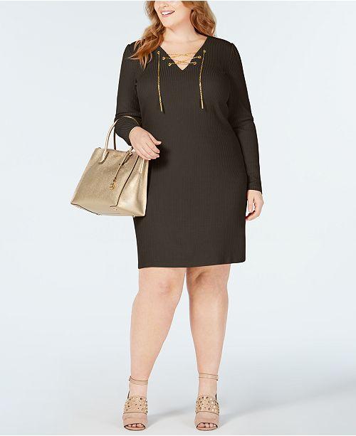 40e6ac94fa9 Michael Kors Plus Size Lace-Up Ribbed-Knit Sweater Dress   Reviews ...
