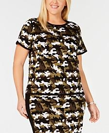 MICHAEL Michael Kors Plus Size Camo-Print Sweater