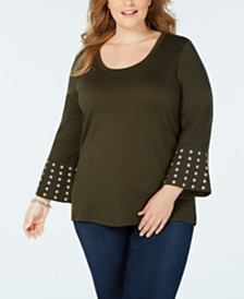 MICHAEL Michael Kors Plus Size Studded Flounce-Sleeve Top