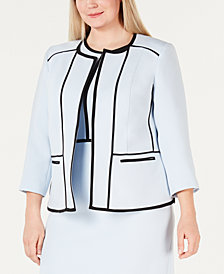 Kasper Plus Size Contrast-Piping Jacket