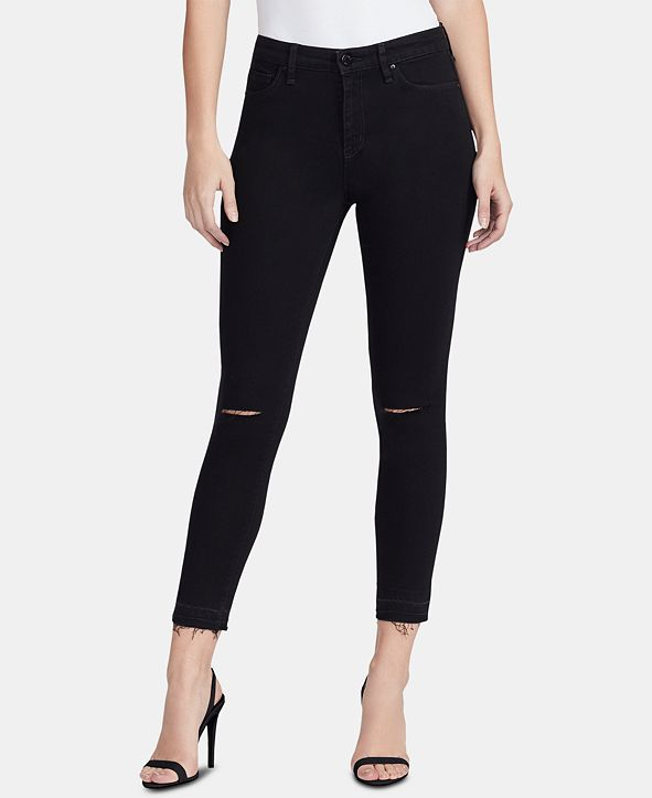 WILLIAM RAST High Rise Sculpted Ripped Skinny Ankle Jeans