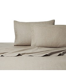 Heather Ground Gingham Flannel Sheet Set Queen