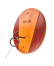 Premium All-Wood Walnut Finish Hook and Ring Target Game for Use Indoors and Outdoors