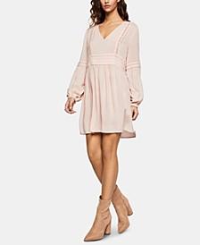 Lattice-Trim Peasant Dress