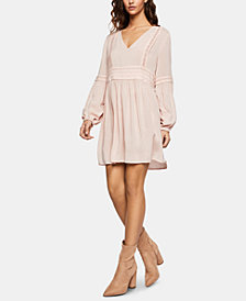 BCBGeneration Lattice-Trim Peasant Dress