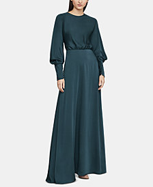 BCBGMAXAZRIA Draped-Back Satin Maxi Dress