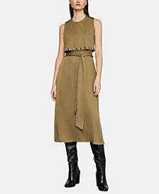 BCBGMAXAZRIA Studded-Overlay Midi Dress