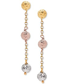 Tricolor Textured Ball Triple Drop Earrings in 14k Gold, White Gold, & Rose Gold