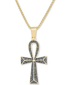 "Men's Black Diamond (1/4 ct. t.w.) Ankh 22"" Pendant Necklace in Sterling Silver, 14k Gold-Plated Sterling Silver & Rhodium-Plated Sterling Silver"