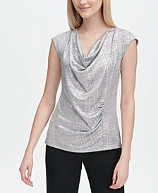 Calvin Klein Metallic Cowl-Neck Top
