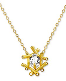 "Kesi Jewels White Topaz (3/4 ct. t.w.) & Diamond Accent 16"" Pendant Necklace in 14k Gold"