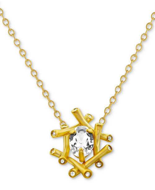 "Kesi Jewels White Topaz (3/4 ct. t.w.) & Diamond Accent 16"" Pendant Necklace in 14k Gold"