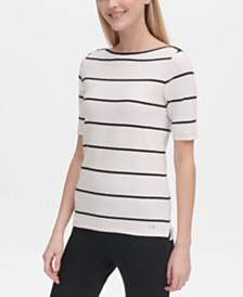 Calvin Klein Striped Boat-Neck Top