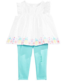 First Impressions Baby Girls Printed Eyelet Lace Top & Raw-Hem Jeans Separates, Created for Macy's