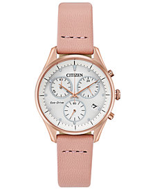 Citizen Eco-Drive Women's Chandler Blush Leather Strap Watch 32mm
