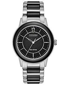 Eco-Drive Women's Chandler Stainless Steel & Black Ceramic Bracelet Watch 36mm