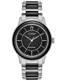 Citizen Eco-Drive Women's Chandler Stainless Steel & Black Ceramic Bracelet Watch 36mm