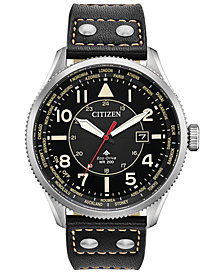 Citizen Eco-Drive Men's Promaster Nighthawk Black Leather Strap Watch 44mm