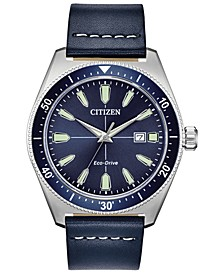 Eco-Drive Men's Brycen Blue Leather Strap Watch 43mm