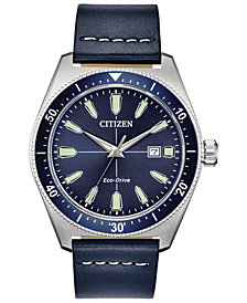 Citizen Eco-Drive Men's Brycen Blue Leather Strap Watch 43mm