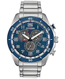 Drive From Citizen Eco-Drive Men's Chronograph LTR Stainless Steel Bracelet Watch 45mm