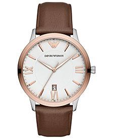 Emporio Armani Men's Brown Leather Strap Watch 44mm