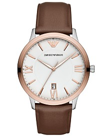 Emporio Armani Men's Brown Leather Strap Watch 44mm