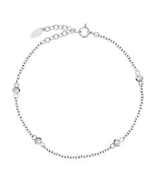 Bodifine Sterling Silver Cz Anklet