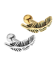 Bodifine Stainless Steel And Brass Set of 2 Feather Tragus
