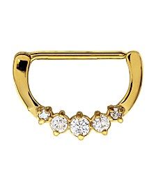 Bodifine Stainless Steel Crystal Five Stone Clicker Nipple Ring