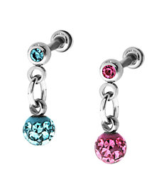 Bodifine Stainless Steel Set of 2 Crystal and Resin Tragus