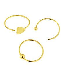 Bodifine 9 Carat Gold Set of 3 Nose Hoops