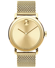 Movado Men's Swiss BOLD Gold-Tone Stainless Steel Mesh Bracelet Watch 40mm