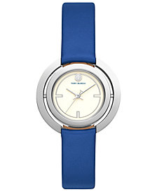 Tory Burch Women's Grier Blue Leather Strap Watch 26mm