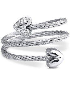 CHARRIOL White Topaz Heart Wrap Ring (1/10 ct. t.w.) in Stainless Steel & Sterling Silver