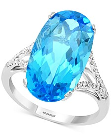 EFFY® Blue Topaz (10-7/8 ct. t.w.) & Diamond (1/8 ct. t.w.) Ring in 14k White Gold