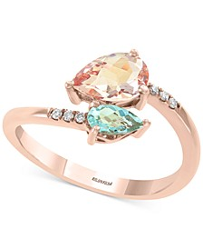 EFFY® Multi-Gemstone (9/10 ct. t.w.) & Diamond Accent Bypass Ring in 14k Rose Gold