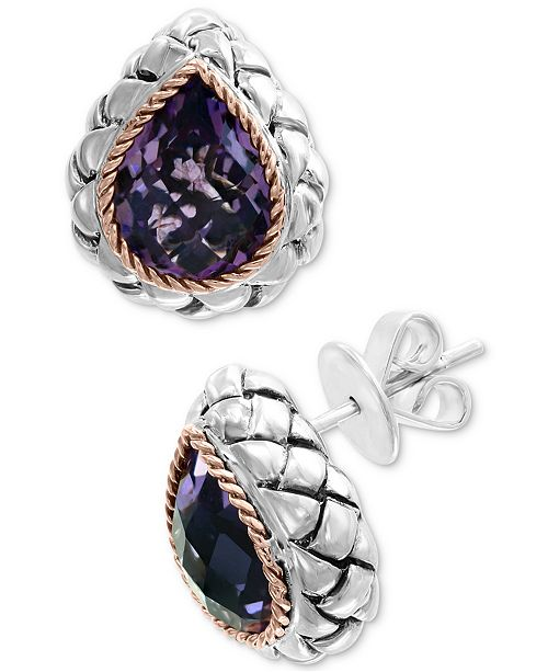 EFFY Collection EFFY® Amethyst Stud Earrings (5-1/3 ct. t.w.) in Sterling Silver & 18k Rose Gold