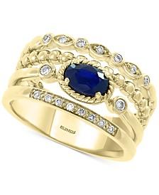 EFFY® Sapphire (5/8 ct. t.w.) Diamond (1/6 ct. t.w.) Statement Ring in 14k Gold