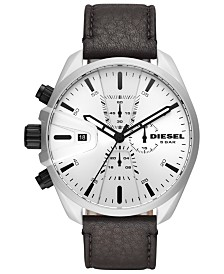 Diesel Men's Chronograph MS9 Chrono Black Leather Strap Watch 48mm