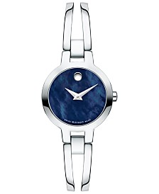LIMITED EDITION Movado Women's Swiss Amorosa Stainless Steel Bangle Bracelet Watch 24mm, Created for Macy's