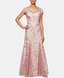 Alex Evenings V-Neck Sequin Embroidered Gown