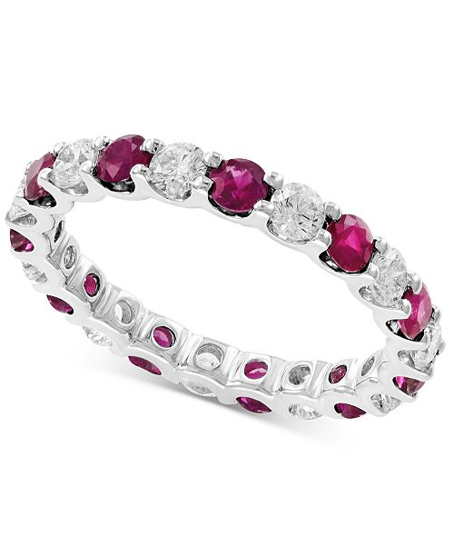 EFFY Collection EFFY® Certified Ruby (1-1/4 ct. t.w.) and Diamond (1/10 ct. t.w.) Ring in 14k White Gold
