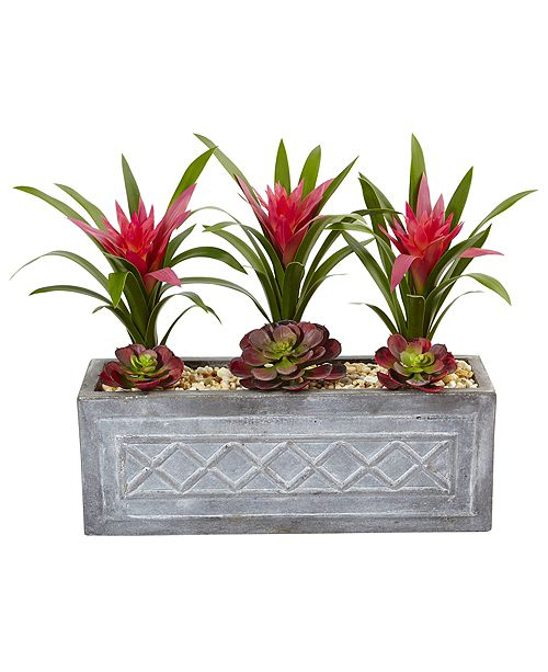 Nearly Natural Ginger and Succulent Artificial Plant in Stone Planter